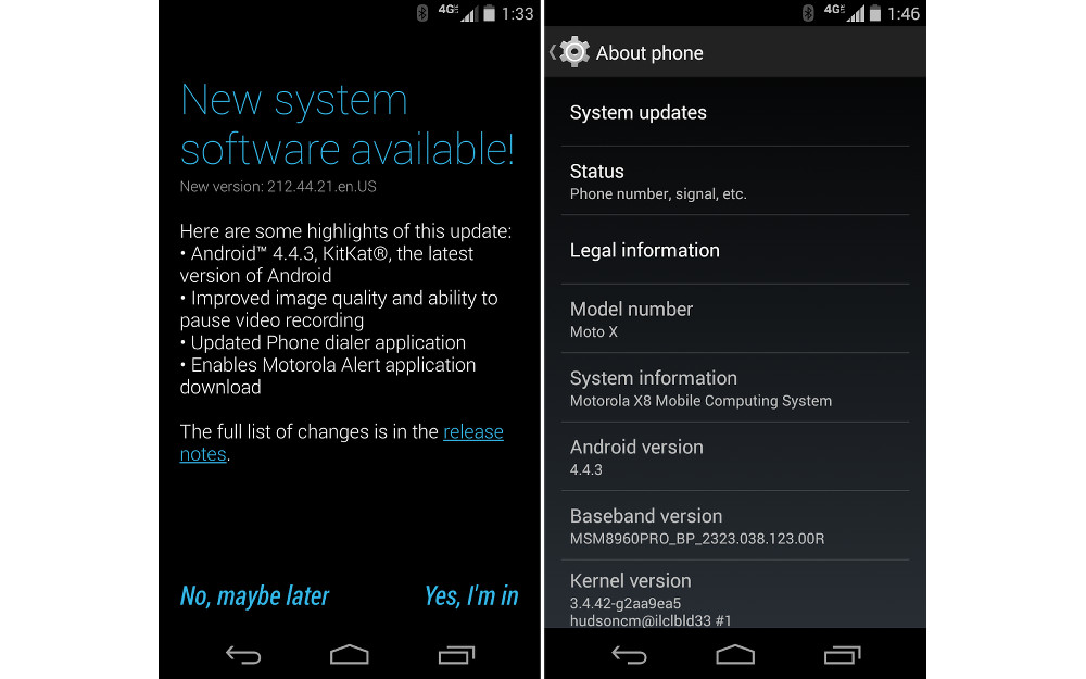 Android 4.4.3 Update for T-Mobile Moto X, Moto E and Moto G