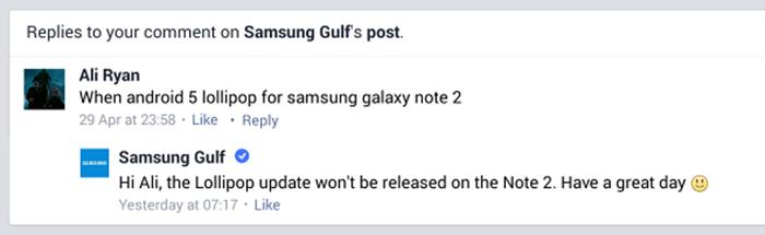 Samsung Galaxy Note II podría no recibir Lollipop 1