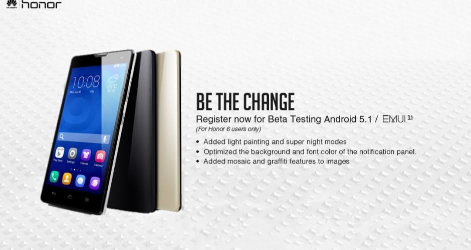 Beta do firmware baseado em Android 5.1 Lollipop para Huawei Honor 6 já é aqui