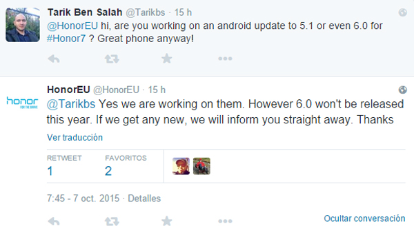 Huawei Honor 7 will receive the update to Android 6.0 Marshmallow 1