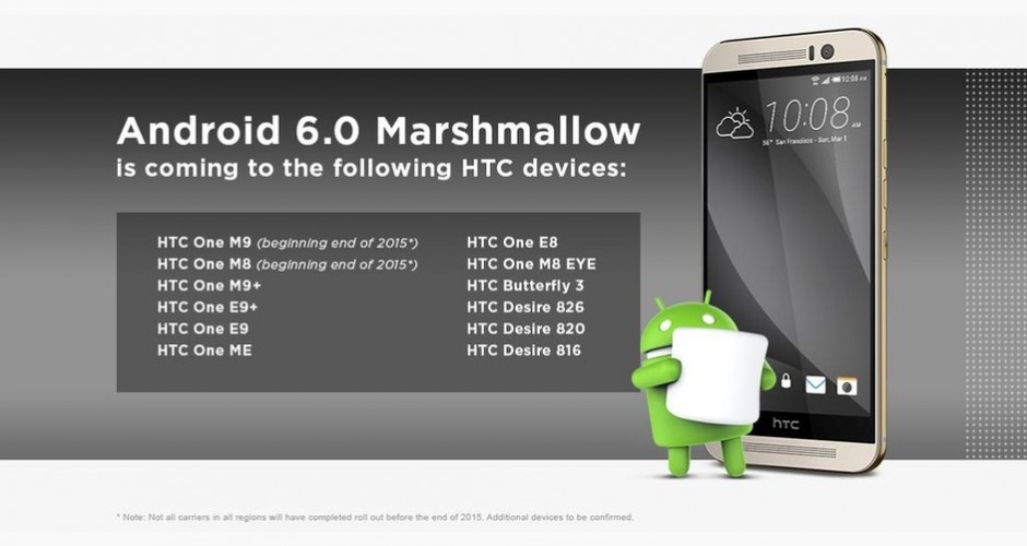 Dates updates HTC phones Android Marshmallow leaked