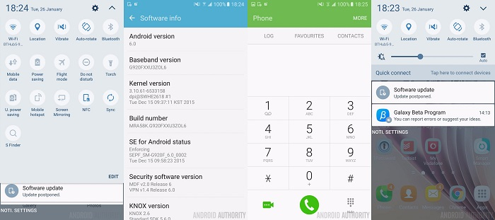 The Samsung Galaxy S6 and S6 Edge begin to update to Android 6.0.1