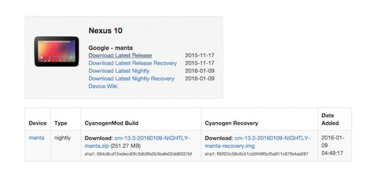 Android Marshmallow llega Nexus 10 CyanogenMod 13 Nightlies
