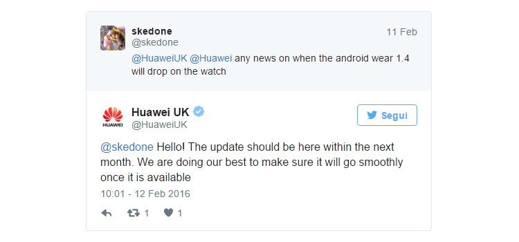 Android Wear Marshmallow tarde Huawei Watch