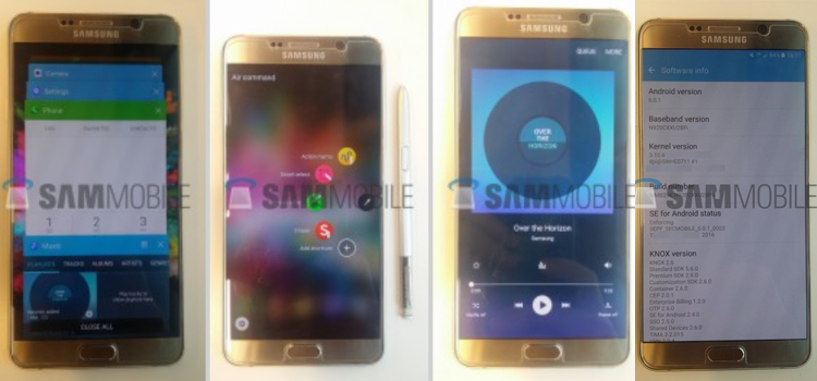 Leaked Images Samsung Galaxy Note 5 show look Android 6.0.1 Marshmallow